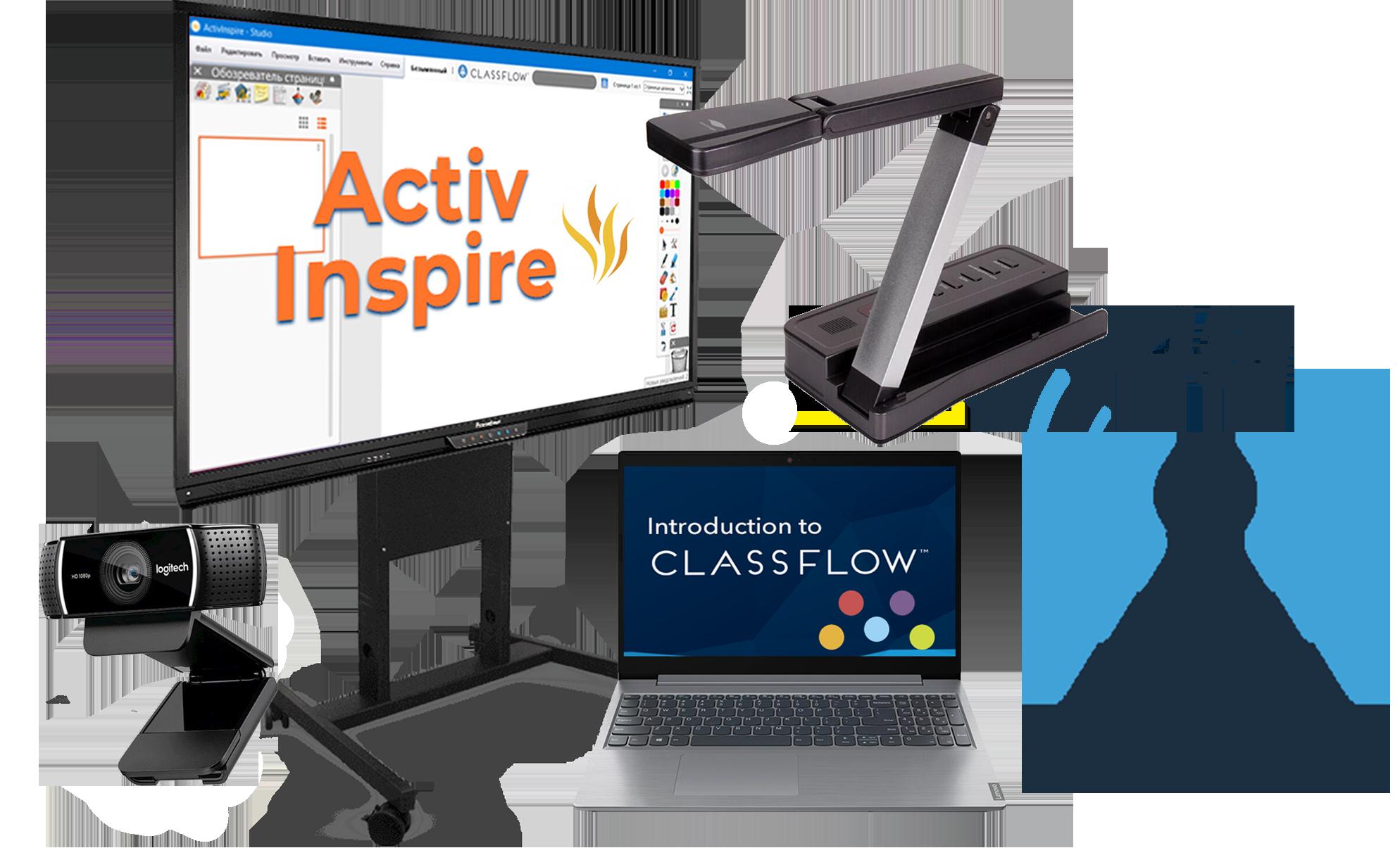 Інтерактивний мультимедійний комплекс для змішаного навчання 7 в 1 4G: інтерактивна панель+ноутбук+веб-камера+документ-камера+4G модем та безлімітний інтернет+ActivInspire+ClassFlow. Ціна та характеристики.