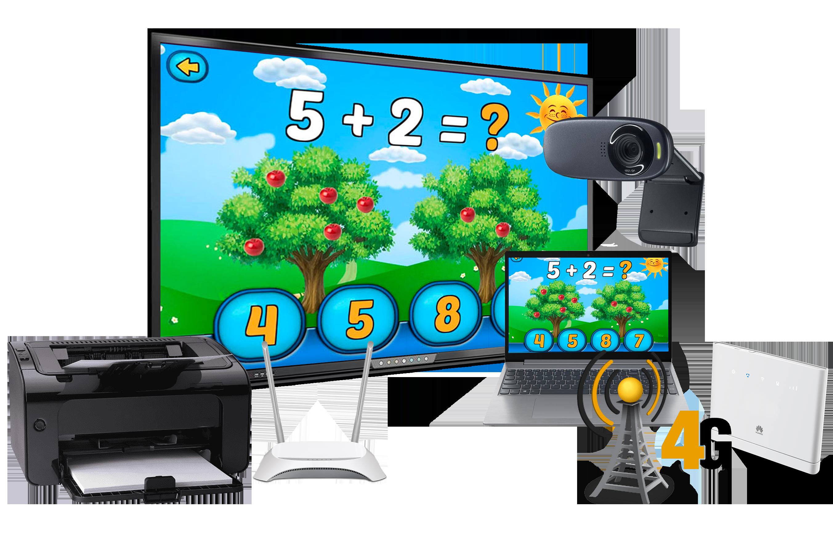 Інтерактивний мультимедійний комплекс для НУШ 9 в 1 4G: інтерактивна панель+ноутбук+веб-камера+принтер+роутер+4G модем та безлімітний інтернет+ActivInspire+ClassFlow. Ціна та характеристики.